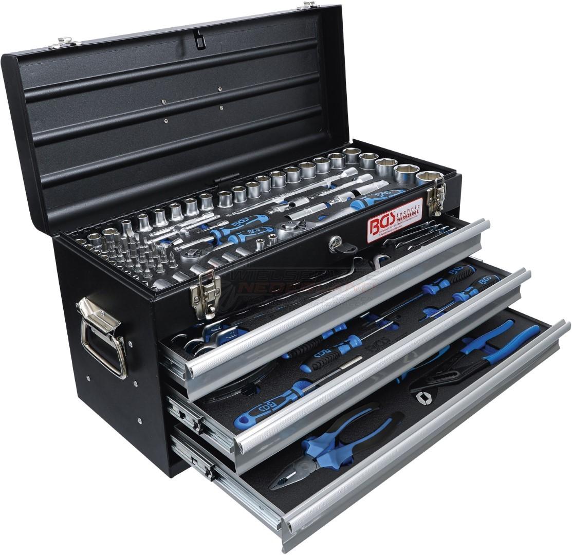 Metalen gereedschapkoffer 3 schuifladen met 143 gereedschappen